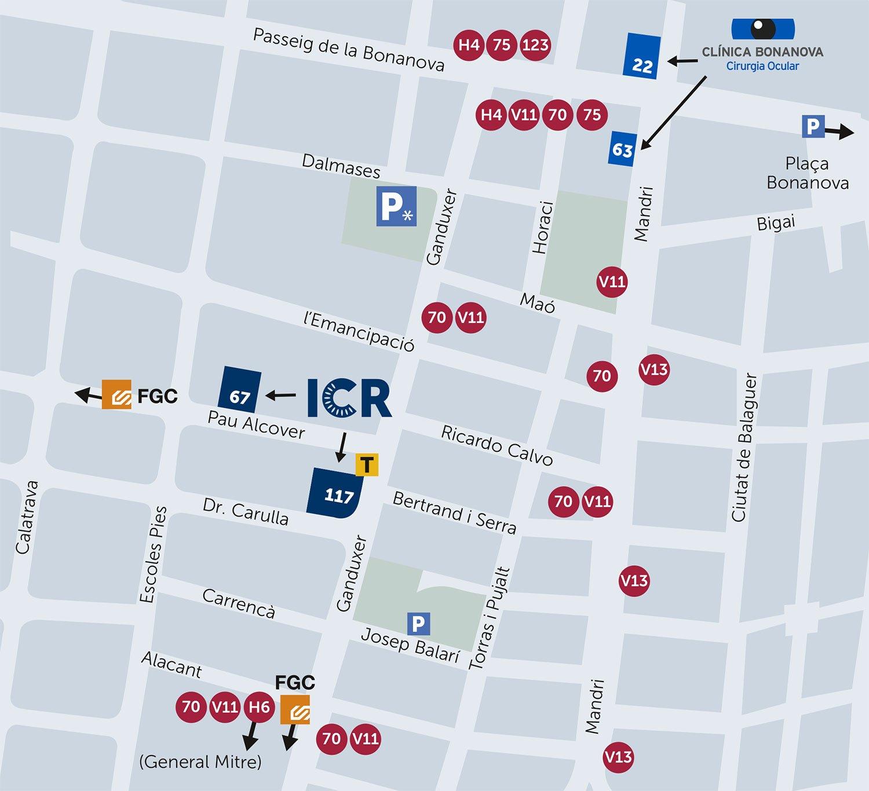 Mapa cómo llegar a ICR