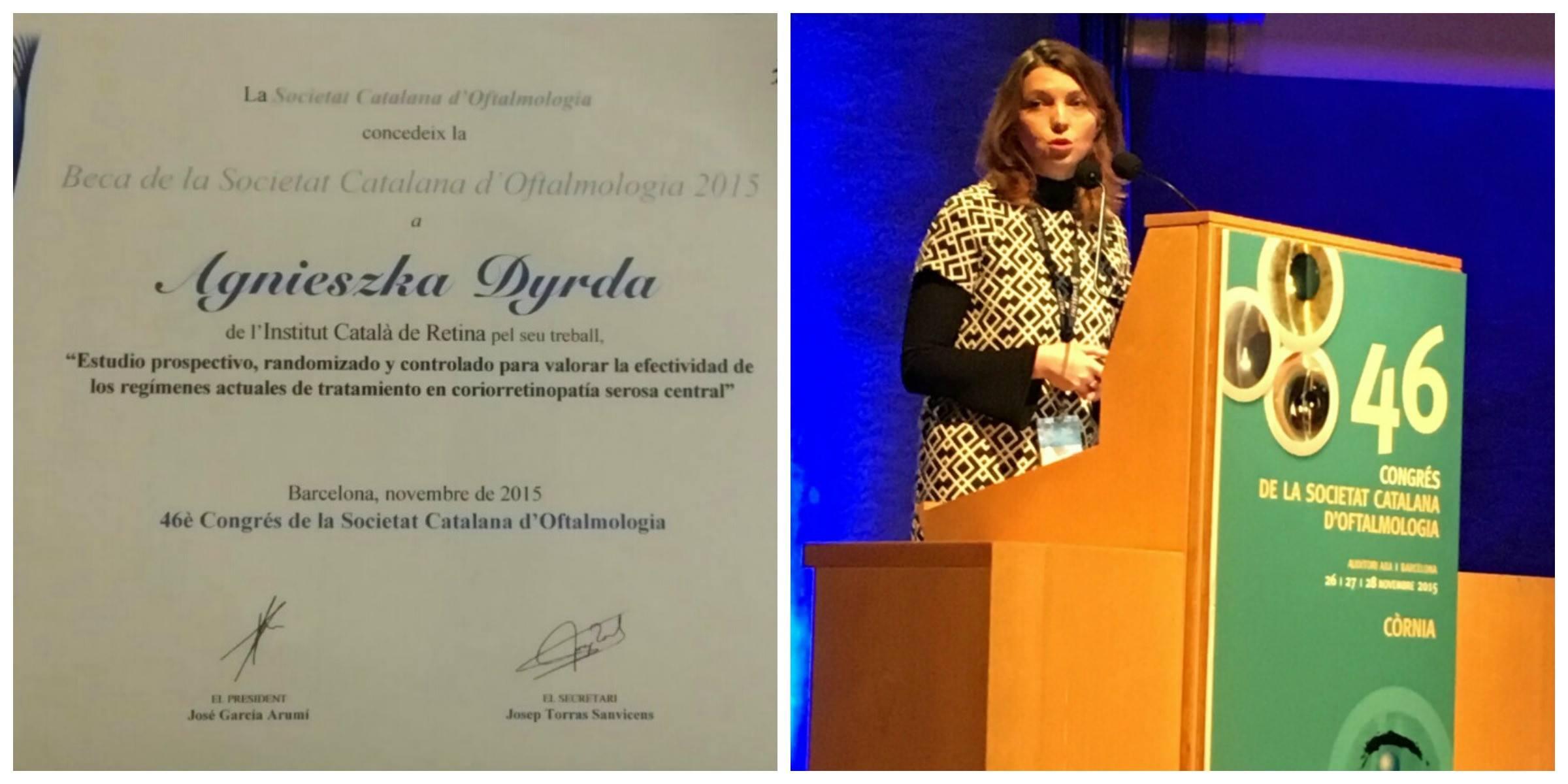 La Dra. Dyrda guanya la Beca de la Societat Catalana d'Oftalmologia al millor treball de recerca