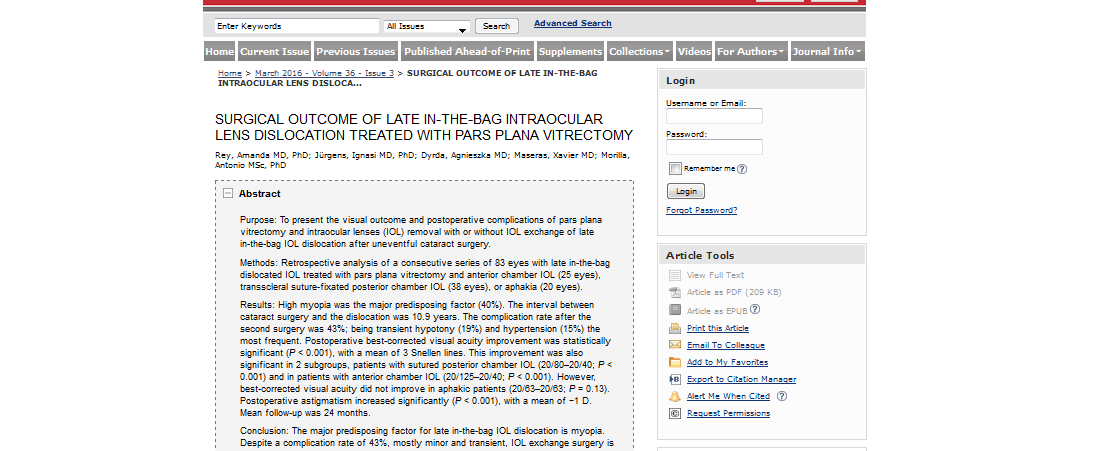 L'American Academy of Ophthalmology selecciona un article del Dr. Jürgens i la Dra. Rey com a article destacat del mes