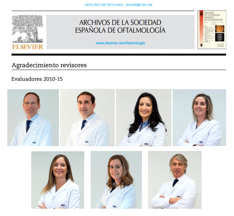 Seven ophthalmologists from ICR among the peer-reviewers of the journal Archivos de la Sociedad Española de Oftalmología.