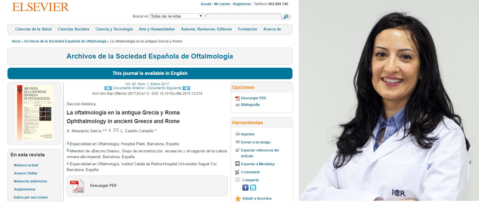 La Dra. Castillo, coautora d'un article sobre l'oftalmologia a l'antiga Grècia i Roma