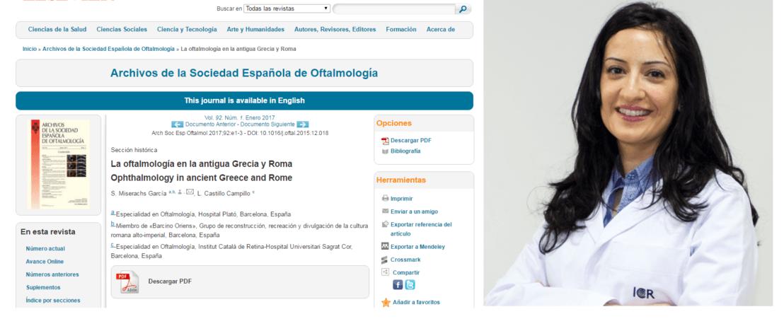 La Dr. Castillo, coauteur d'un article publié au journal Archivos de la Sociedad Española de Oftalmología