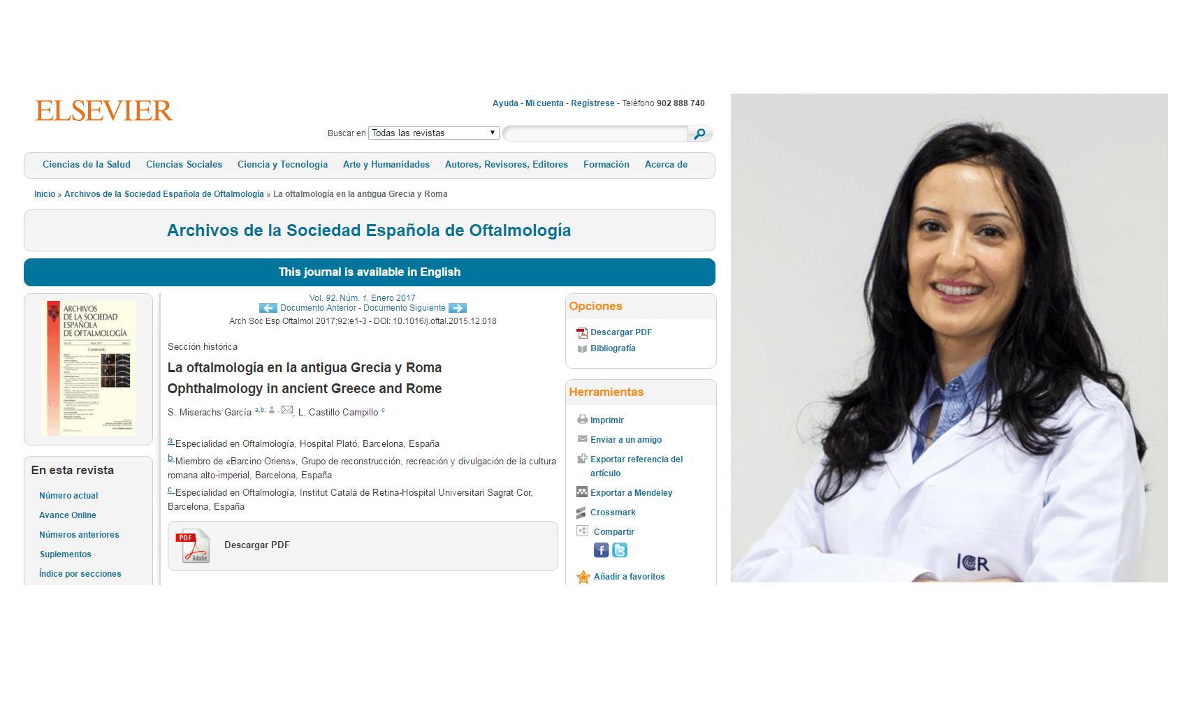 La Dr. Castillo, co-auteure d'un article publié au journal Archivos de la Sociedad Española de Oftalmología