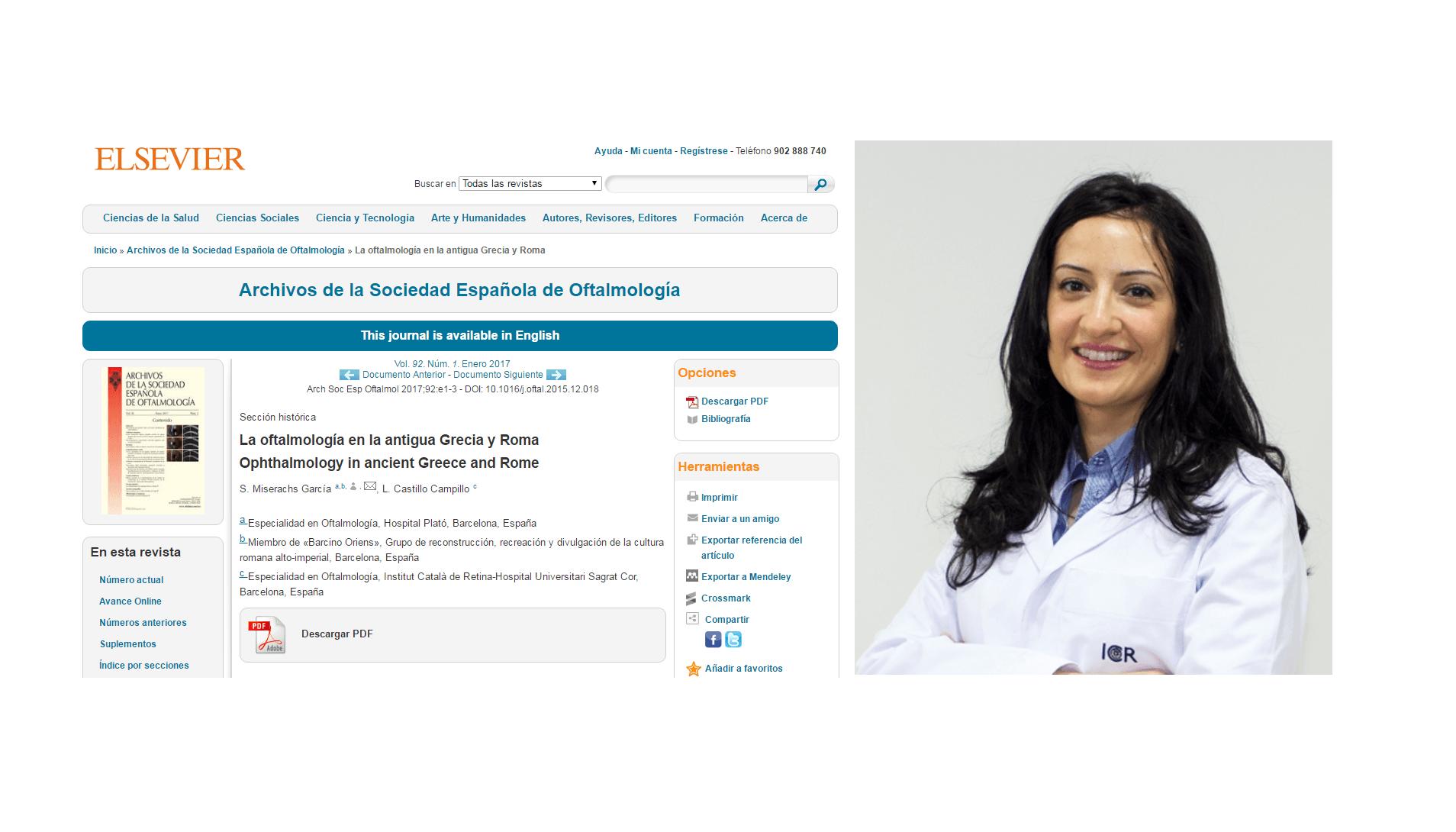 La Dra. Castillo, coautora de un artículo sobre la oftalmología en la antigua Grecia y Roma