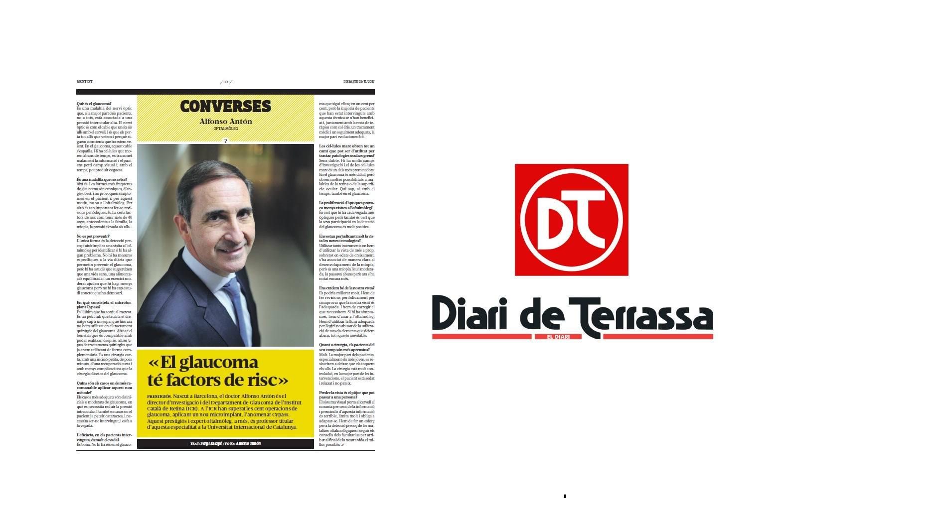 El Diari de Terrassa publica una entrevista amb el Dr. Antón sobre el glaucoma
