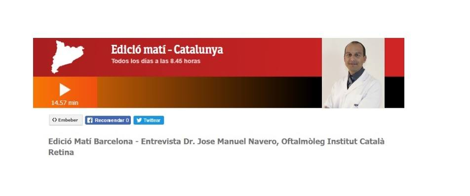 Entretien avec le Dr. Navero sur l'émission de radio Edició Matí de RTVE pour parler du glaucome