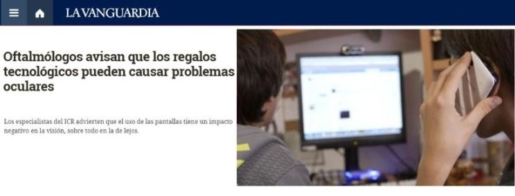 Varios medios recogen el testimonio de oftalmólogos de ICR sobre el impacto en la visión de los dispositivos tecnológicos