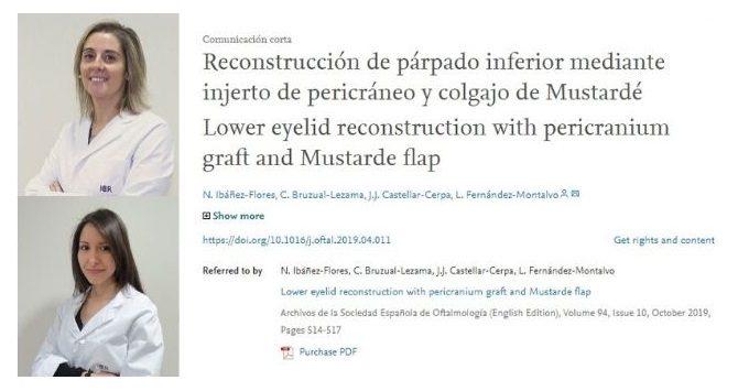 El Dpto. de Oculoplastia publica un artículo sobre un caso de reconstrucción de párpado inferior