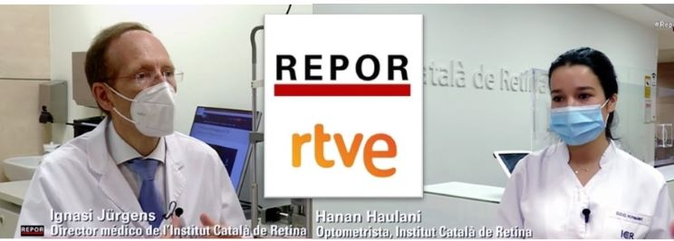 Dr. Jürgens and optometrist H. Haulani in RTVE's report about screens and eye health