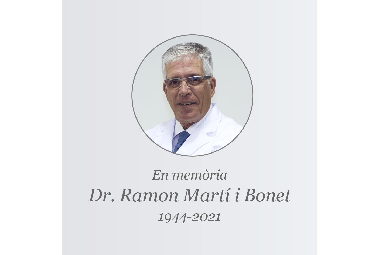 Mor el Doctor Ramon Martí i Bonet, fundador i president de l'ICR